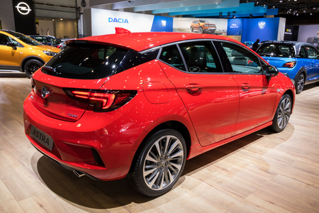 BRUSSELS - JAN 10, 2018: Opel Astra car shown at the Brussels Motor Show.