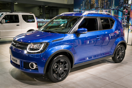 BRUSSELS - JAN 10, 2018: Suzuki Ignis ultra compact SUV car shown at the Brussels Motor Show. Редакционное