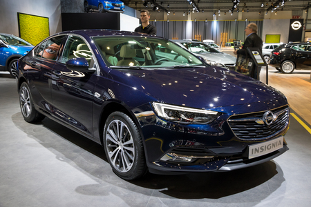 BRUSSELS - JAN 10, 2018: Opel Insignia car shown at the Brussels Motor Show. Editöryel