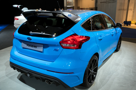 BRUSSELS - JAN 10, 2018: Ford Focus RS performance car shown at the Brussels Motor Show.