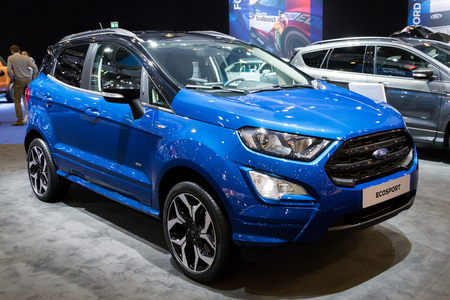 BRUSSELS - JAN 10, 2018: New 2018 Ford EcoSport Compact SUV car shown at the Brussels Motor Show.