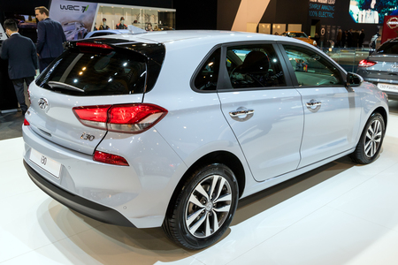 BRUSSELS - JAN 10, 2018: Hyundai i30 family car shown at the Brussels Motor Show.