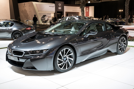 Brussels Jan 10 2018 Bmw I8 Electric Sports Car Shown At Stock