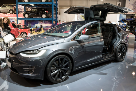 BRUSSELS - JAN 10, 2018: Tesla Model X full-sized all-electric luxury crossover SUV car shown at the Brussels Motor Show.