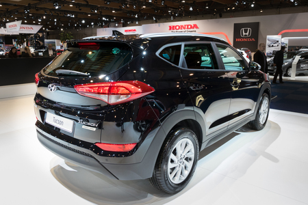 BRUSSELS - JAN 10, 2018: Hyundai Tucson Urban Spirit compact crossover SUV car shown at the Brussels Motor Show.