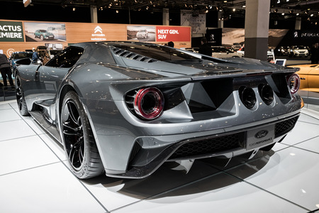 BRUSSELS - JAN 10, 2018: Ford GT Supercar sports car shown at the Brussels Motor Show.