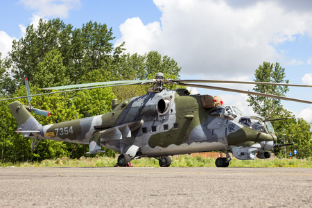 BEAUVECHAIN, BELGIUM - MAY 20, 2015: Czech Air Force Mi-24 Hind attack helicopter. Editorial