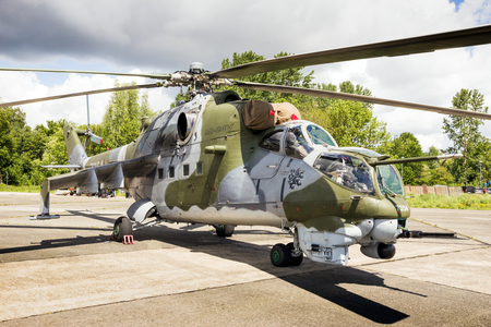 BEAUVECHAIN, BELGIUM - MAY 20, 2015: Russlan-made Czech Air Force Mil Mi-24 Hind attack helicopter.