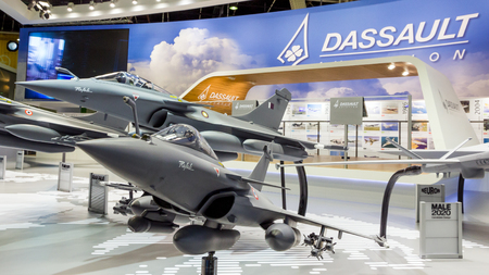 PARIS-LE BOURGET - JUN 18, 2015: Mock-up planes at a stand of the French aircraft manufacturer Dassault Aviation during the 51st International Paris Air show. Editorial