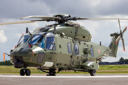 BEAUVECHAIN, BELGIUM - MAY 20, 2015: New Belgian army NH90 helicopter on the homebase Beauvechain airbase.