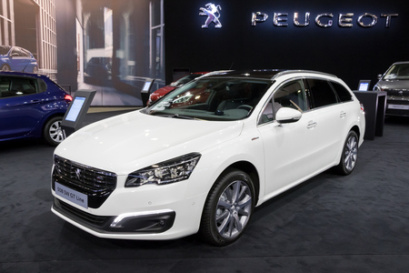 BRUSSELS - JAN 10, 2018: Peugeot 508 SW GT Line station wagon car shown at the Brussels Motor Show.