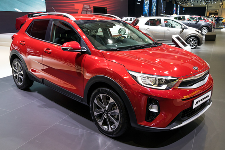 BRUSSELS - JAN 10, 2018: Kia Stonic compact crossover car shown at the Brussels Motor Show.