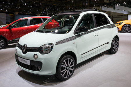 BRUSSELS - JAN 10, 2018: Renault Twingo compact city car shown at the Brussels Motor Show.