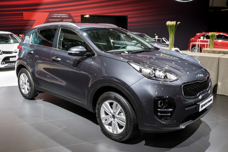 BRUSSELS - JAN 10, 2018: Kia Sportage crossover SUV car shown at the Brussels Motor Show.