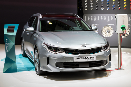 BRUSSELS - JAN 10, 2018: Kia Optima SW plug-in hybrid car shown at the Brussels Motor Show.