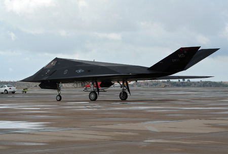 MIRAMAR, CALIFORNIA, USA - OCT 15, 2016: US Air Force Lockheed Martin F-117 Nighthawk stealth fighter jet taxiing during the MCAS Miramar Airshow. Editorial