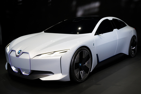 FRANKFURT, GERMANY - SEP 13, 2017: BMW i Vision Dynamics electric concept car at the Frankfurt IAA Motor Show. Stok Fotoğraf - 97091211