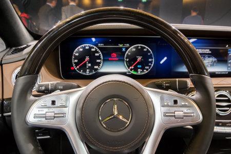 FRANKFURT, GERMANY - SEP 13, 2017: Steering wheel in the new Mercedes-Benz S560e car showcased at the Frankfurt IAA Motor Show. Editorial