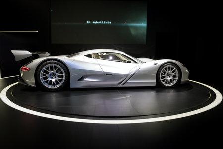 FRANKFURT, GERMANY - SEP 13, 2017: Aspark Owl Electric Supercar Concept presented at the Frankfurt IAA Motor Show.