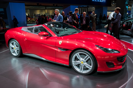 FRANKFURT, GERMANY - SEP 13, 2017: New Ferrari Portofino sports car at the Frankfurt IAA Motor Show. Editorial