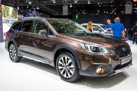 FRANKFURT, GERMANY - SEP 13, 2017: New 2018 Subaru Outback Crossover SUV car at the Frankfurt IAA Motor Show. Editorial
