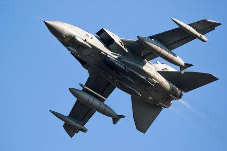 LEEUWARDEN, THE NETHERLANDS - MAR 28, 2017: British Royal Air Force Tornado GR-4 bomber jet plane in flight during exercise Frisian Flag.