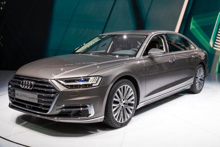 FRANKFURT, GERMANY - SEP 13, 2017: New 2018 Audi A8 L Quattro luxury car at the Frankfurt IAA Motor Show.