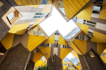ROTTERDAM, NETHERLANDS - SEP 8, 2013: Cube houses designed by Piet Blom. The design represents a village where each house represents a tree.