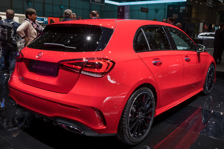 GENEVA, SWITZERLAND - MARCH 7, 2018: Mercedes Benz A-class 200 car presented at the 88th Geneva International Motor Show. Editorial