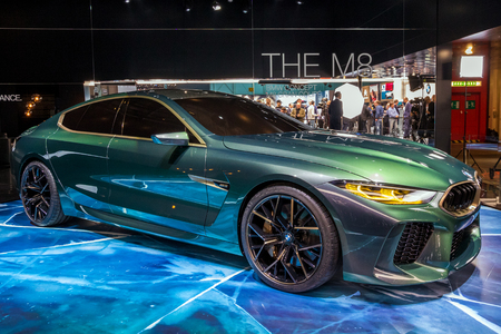 GENEVA, SWITZERLAND - MARCH 6, 2018: BMW M8 Gran Coupe sports car presented at the 88th Geneva International Motor Show.