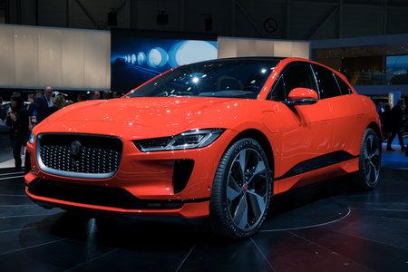 GENEVA, SWITZERLAND - MARCH 6, 2018:  Jaguar I-Pace electric SUV car presented at the 88th Geneva International Motor Show.