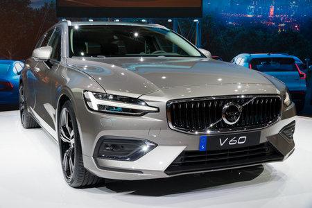 GENEVA, SWITZERLAND - MARCH 6, 2018: New Volvo V60 car presented at the 88th Geneva International Motor Show.