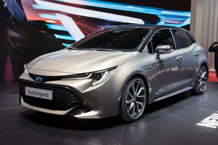 GENEVA, SWITZERLAND - MARCH 6, 2018: New 2018 Toyota Auris Hybrid presented at the 88th Geneva International Motor Show.