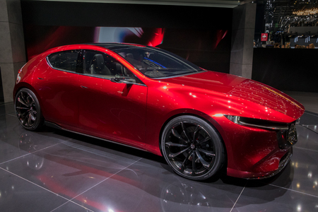 GENEVA, SWITZERLAND - MARCH 6, 2018: Mazda KAI Concept car makes European debut at the 88th Geneva International Motor Show.