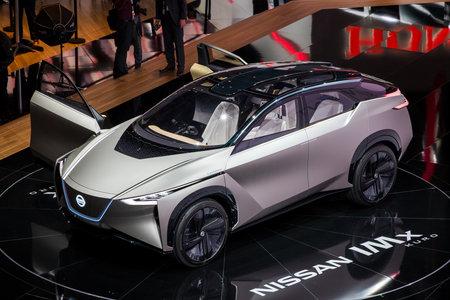GENEVA, SWITZERLAND - MARCH 6, 2018: New Nissan IMx Kuro electric crossover car European debut at the 88th Geneva International Motor Show. Editorial