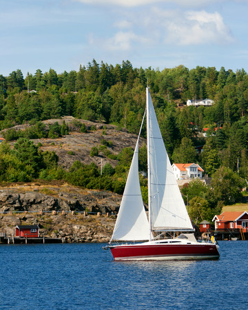 Sail yacht on a lake in Sweden