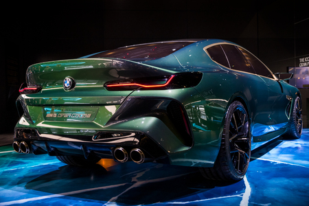 GENEVA, SWITZERLAND - MARCH 7, 2018: New BMW M8 Gran Coupe sports car unveiled at the 88th Geneva International Motor Show.