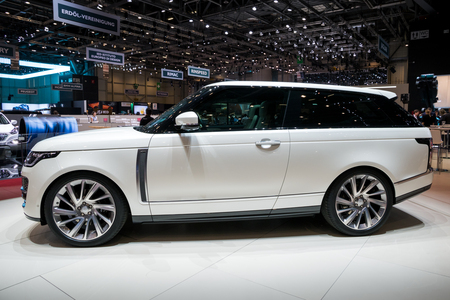 GENEVA, SWITZERLAND - MARCH 6, 2018: Range Rover SV Coupe SUV car unveiled at the 88th Geneva International Motor Show. Editorial