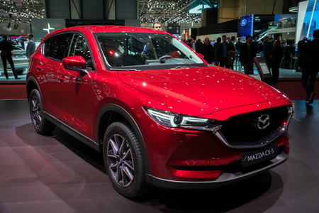 GENEVA, SWITZERLAND - MARCH 7, 2018: Mazda CX-5 compact crossover car presented at the 88th Geneva International Motor Show. Sajtókép