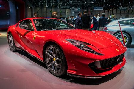 GENEVA, SWITZERLAND - MARCH 7, 2018: Ferrari 812 Superfast sports car shown at the 88th Geneva International Motor Show.