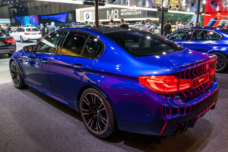 GENEVA, SWITZERLAND - MARCH 7, 2018: BMW M5 car presented at the 88th Geneva International Motor Show. Stock Photo - 102535451