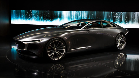 GENEVA, SWITZERLAND - MARCH 7, 2018: Mazda Vision Coupe concept car showcased at the 88th Geneva International Motor Show. Editorial