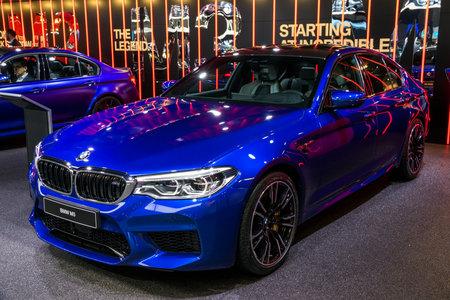 GENEVA, SWITZERLAND - MARCH 7, 2018: BMW M5 car presented at the 88th Geneva International Motor Show.