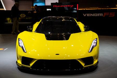 GENEVA, SWITZERLAND - MARCH 7, 2018: Hennessey Venom F5 sports car debut at the 88th Geneva International Motor Show.
