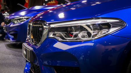 GENEVA, SWITZERLAND - MARCH 7, 2018: Close up of a BMW M5 car presented at the 88th Geneva International Motor Show. Editorial