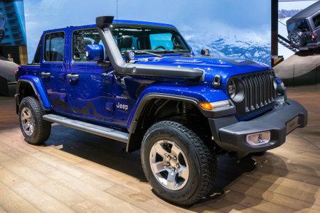GENEVA, SWITZERLAND - MARCH 7, 2018: New Jeep Wrangler Sahara 4x4 car showcased at the 88th Geneva International Motor Show.