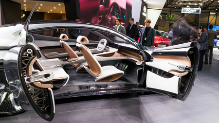 GENEVA, SWITZERLAND - MARCH 7, 2018: Interior view of the Hyundai Le Fil Rouge Concept car presented at the 88th Geneva International Motor Show.