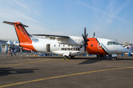 PARIS, FRANCE - JUN 22, 2017: AeroRescue Dornier 328-110 search and rescue aircraft on display at the Paris Airshow.