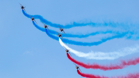 PARIS-LE BOURGET, FRANCE - JUN 23, 2017: French Patrouille de France aerobatics airshow team performing at the Paris Air Show 2017.
