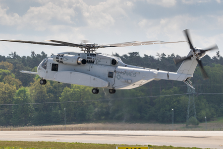 BERLIN - APR 27, 2018: New US Marines Sikorsky CH-53K King Stallion heavy transport helicopter taking off at the Berlin ILA Air Show. Editorial